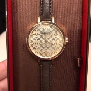 COACH Signature Gold & Brown Leather Watch